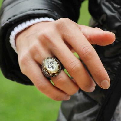 Tekbir Silver - Gümüş Sedef Taşlı Eli Vav Erkek Yüzük (1)