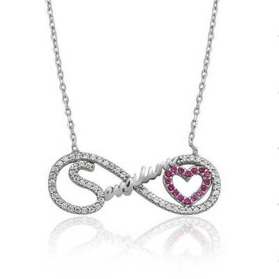 Tekbir Silver - Gümüş Sevgilim Yazılı Sonsuzluk Bayan Kolye