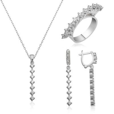 Tekbir Silver - Gümüş Sıra Taşlı Bayan Set