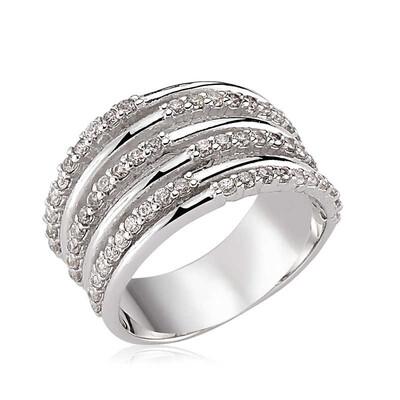 Tekbir Silver - Gümüş Sıra Taşlı Bayan Yüzük