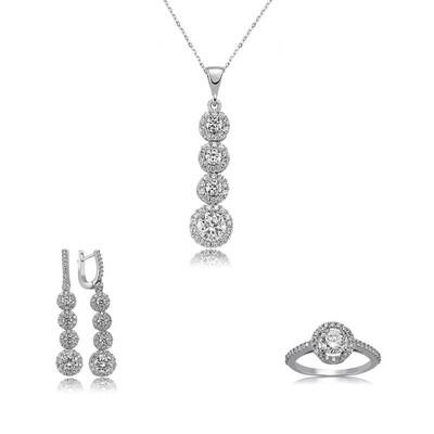 Tekbir Silver - Gümüş Sıralı Dört Taş Bayan Set