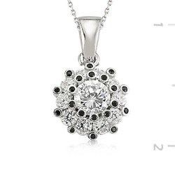Tekbir Silver - Gümüş Siyah Beyaz Taşlı Bayan Kolye