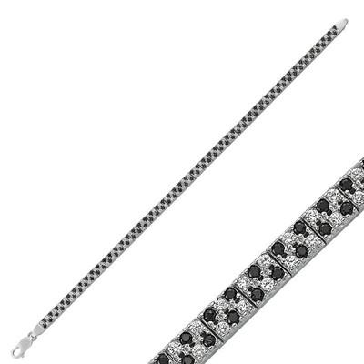 Tekbir Silver - Gümüş Siyah Beyaz Taşlı Su Yolu Bayan Bileklik