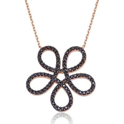 Tekbir Silver - Gümüş Siyah Çiçek Bayan Kolye