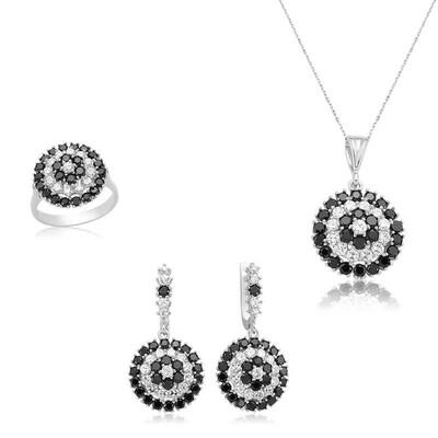 Tekbir Silver - Gümüş Siyah Çiçek Bayan Set
