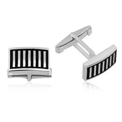 Tekbir Silver - Gümüş Siyah Çizgili Kol Düğmesi