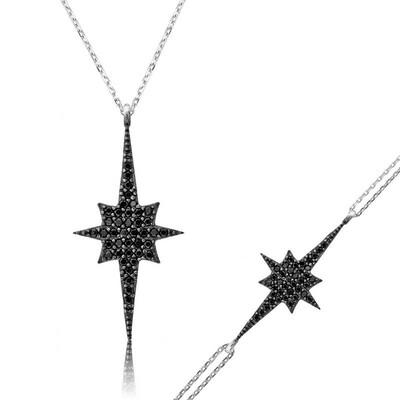 Tekbir Silver - Gümüş Siyah Kutup Yıldızı Bayan Set