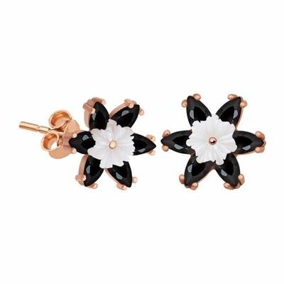 Gumush - Gümüş Siyah Lotus Çiçeği Küpe