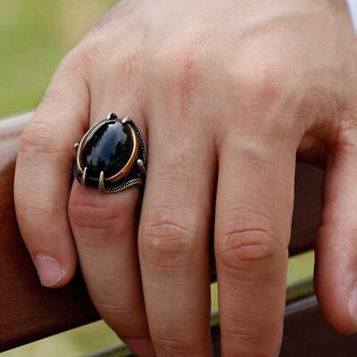 Tekbir Silver - Gümüş Siyah Taşlı Kartal Pençesi Erkek Yüzük (1)
