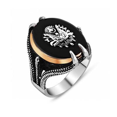 Tekbir Silver - Gümüş Siyah Taşlı Kartal Pençesi Osmanlı Devlet Arması Erkek Yüzük