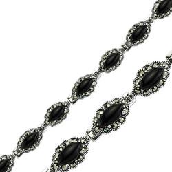 Tekbir Silver - Gümüş Siyah Taşlı Markazit Bayan Bileklik