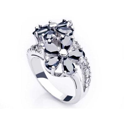 Tekbir Silver - Gümüş Siyah Taşlı Papatya Bayan Yüzük