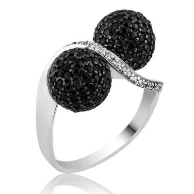 Tekbir Silver - Gümüş Siyah Taşlı Top Bayan Yüzük