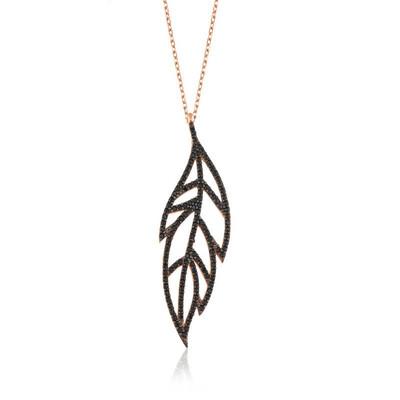 Tekbir Silver - Gümüş Siyah Yaprak Bayan Kolye