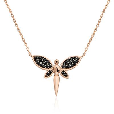 Gumush - Gümüş Siyah Yusufçuk Bayan Kolye