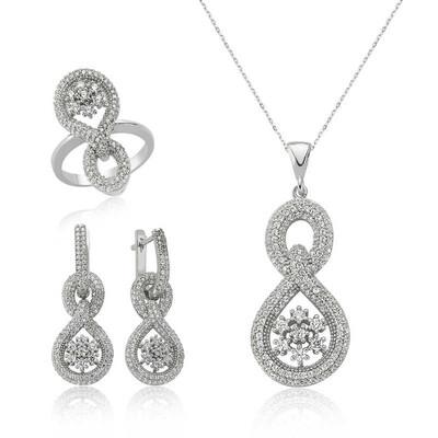Tekbir Silver - Gümüş Sonsuz Kar Tanesi Bayan Set