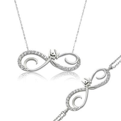 Tekbir Silver - Gümüş Sonsuzluk Aşk Bayan Set