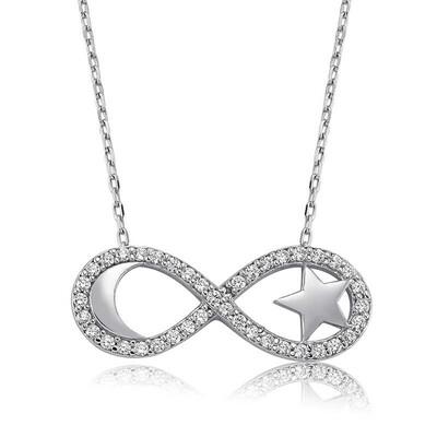 Tekbir Silver - Gümüş Sonsuzluk Ay Yıldız Bayan Kolye