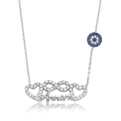 Tekbir Silver - Gümüş Sonsuzluk Kalp Annem Bayan Kolye