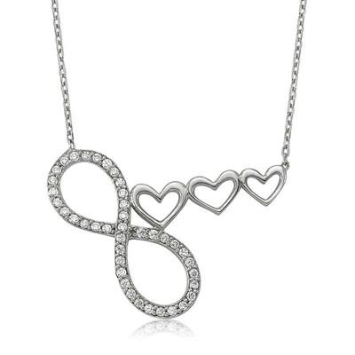 Tekbir Silver - Gümüş Sonsuzluk Kalp Bayan Kolye