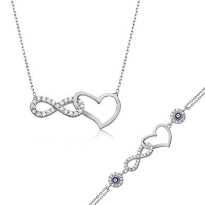 Tekbir Silver - Gümüş Sonsuzluk Kalp Bayan Set