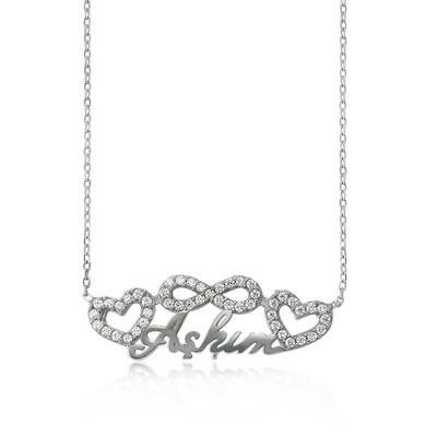 Tekbir Silver - Gümüş Sonsuzluk Kalpli Aşkım Bayan Kolye