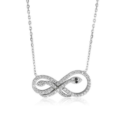 Tekbir Silver - Gümüş Sonsuzluk Yılan Bayan Kolye