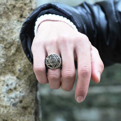 Tekbir Silver - Gümüş Süleyman Peygamber Mührü Erkek Yüzük (1)