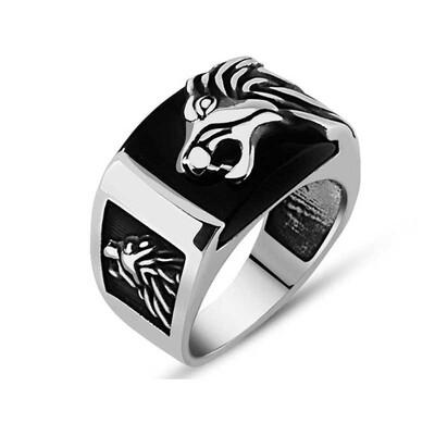 Tekbir Silver - Gümüş Syah Taşlı Aslan Figürlü Erkek Yüzük