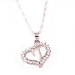 Tekbir Silver - Gümüş T Harfi Kalpli Bayan Kolye