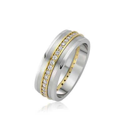 Tekbir Silver - Gümüş Taşlı Çift Bayan Alyans