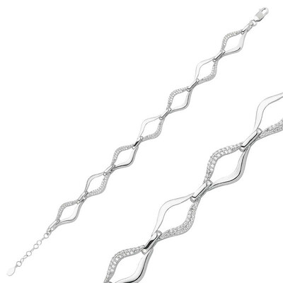 Tekbir Silver - Gümüş Taşlı Dalgalı Bayan Bileklik