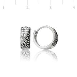 Tekbir Silver - Gümüş Taşlı Halka Küpe