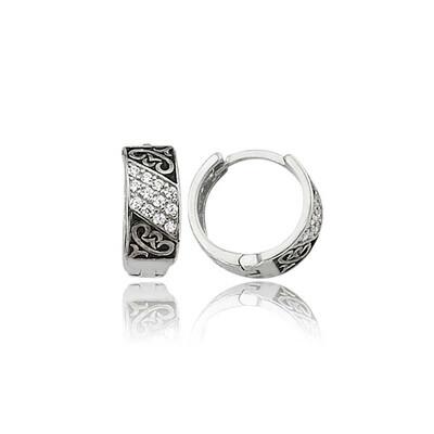 Tekbir Silver - Gümüş Taşlı Halka Küpe (1)