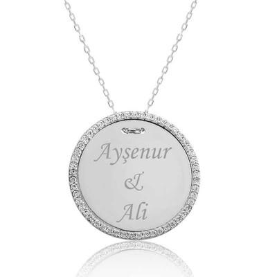 Tekbir Silver - Gümüş Taşlı Kişiye Özel İsimli Bayan Kolye