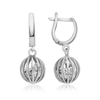 Tekbir Silver - Gümüş Taşlı Küre Küpe (1)