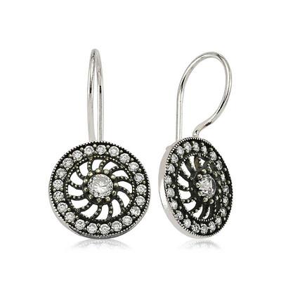 Tekbir Silver - Gümüş Taşlı Sallantılı Çiçek Küpe (1)