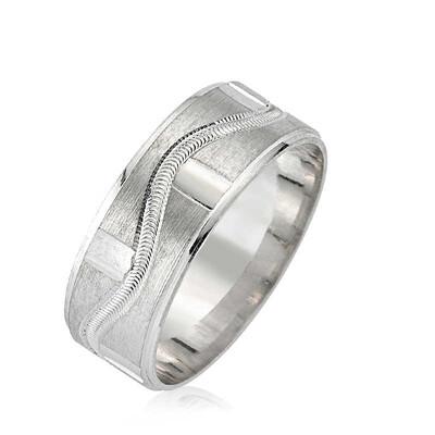 Tekbir Silver - Gümüş Tek Dalga Desenli Alyans