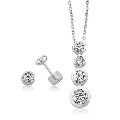 Tekbir Silver - Gümüş Tek Taş Bayan Set