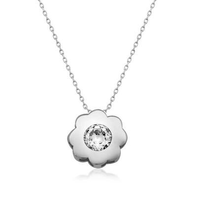 Tekbir Silver - Gümüş Tek Taş Çiçek Bayan Kolye