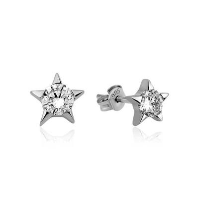 Gumush - Gümüş Tek Taşlı Yıldız Çivili Bayan Küpe
