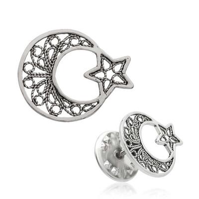 Tekbir Silver - Gümüş Telkari Ay Yıldız Rozet