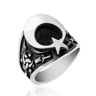 Gumush - Gümüş Teşkilat-ı Mahsusa Armalı Ay Yıldız Erkek Yüzük