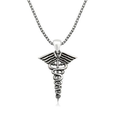 Tekbir Silver - Gümüş Tıp Sembolü Kadüse Erkek Kolye