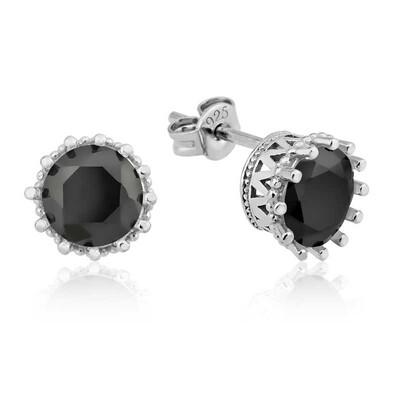 Tekbir Silver - Gümüş Tırnaklı Siyah Tek Taş Küpe
