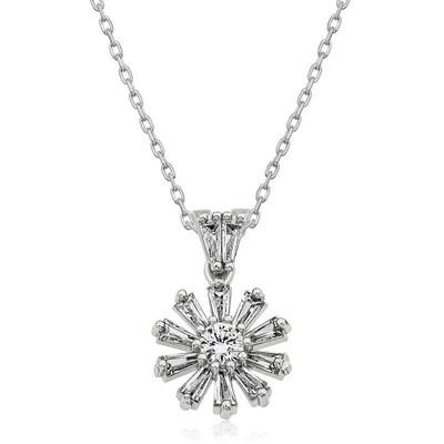 Gumush - Gümüş Trapez Taşlı Çiçek Bayan Kolye