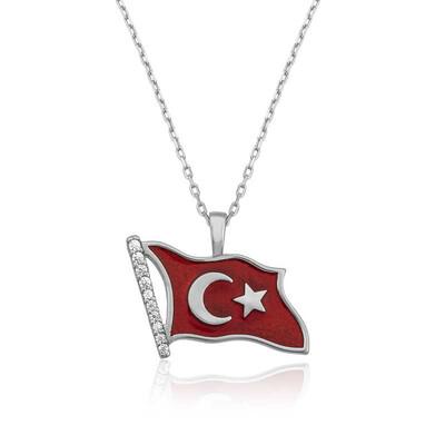 Tekbir Silver - Gümüş Türk Bayrağı Bayan Kolye