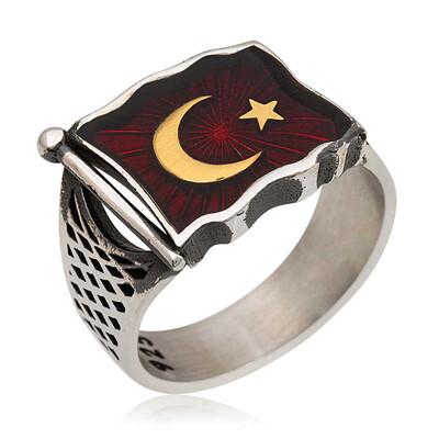 Tekbir Silver - Gümüş Türk Bayrağı Erkek Yüzük