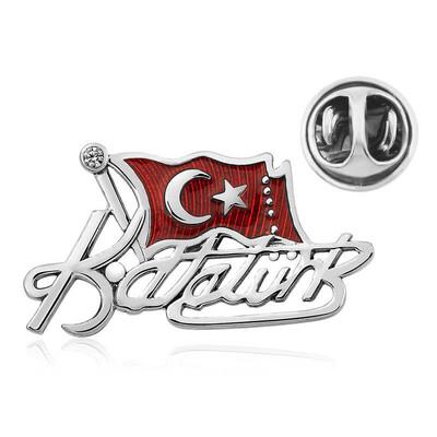 Gumush - Gümüş Türk Bayrağı Kemal Atatürk İmzalı Rozet