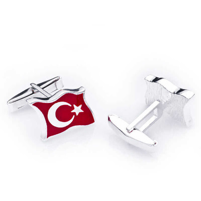 Tekbir Silver - Gümüş Türk Bayrağı Kol Düğmesi